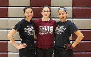 Naugatuck seniors and softball captains, from left, Alyssa Barry, Jackie Aronin and Jenna Massicotte will lead the Greyhounds on the field this year. –ELIO GUGLIOTTI