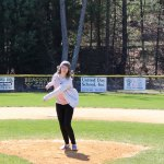Woodland Regional High School senior Olivia Kalentek throws out the first pitch April 16 during the Robert A. Cole Little League opening day ceremony at the Pent Road Recreation Complex in Beacon Falls. –LUKE MARSHALL