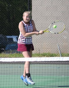 Naugatuck girls tennis captain Sarah Cook and the Greyhounds will face Watertown in the final of the NVL girls tennis tournament. –FILE PHOTO