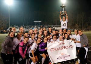 The Woodland girls soccer team ended Watertown's reign as NVL champions with a 2-1 overtime win Nov. 5 over the Indians in the title game. -REPUBLICAN-AMERICAN ARCHIVE