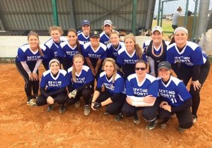 Albertus Magnus junior and former Naugatuck High softball player Gillian Fortier, second from the left in the second row, traveled to Cape Town, South Africa this summer as part of Beyond Sports' first South Africa Softball Tour. –CONTRIBUTED
