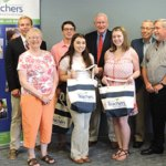 Lauren Reilly, a 2016 Naugatuck High School graduate, recently received The Jean O'Brien Memorial Scholarship from the Waterbury Teachers Federal Credit Union. The four-year scholarship is granted to a student with a declared major in education and plans for a career in teaching. Reilly attends Southern Connecticut State University. Pictured, from left, scholarship winner John Swanson, WCTFCU Board member Linda Caesar, scholarship winner Jake Rinaldi, Reilly, Chairman of the Board of Directors John Cronan, scholarship winner Kathleen Stango, board member John Fontaine and board member Gary Huckins. –CONTRIBUTED