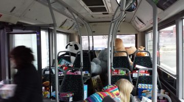 A city bus was filled with toys during the Goat FM's Stuff the Bus event at the Real Canadian Superstore