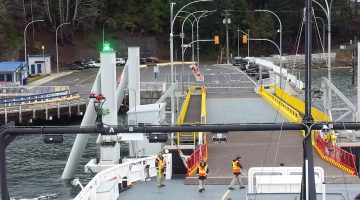 The Baynes Sound Connector getting set to dock on Denman Island.
