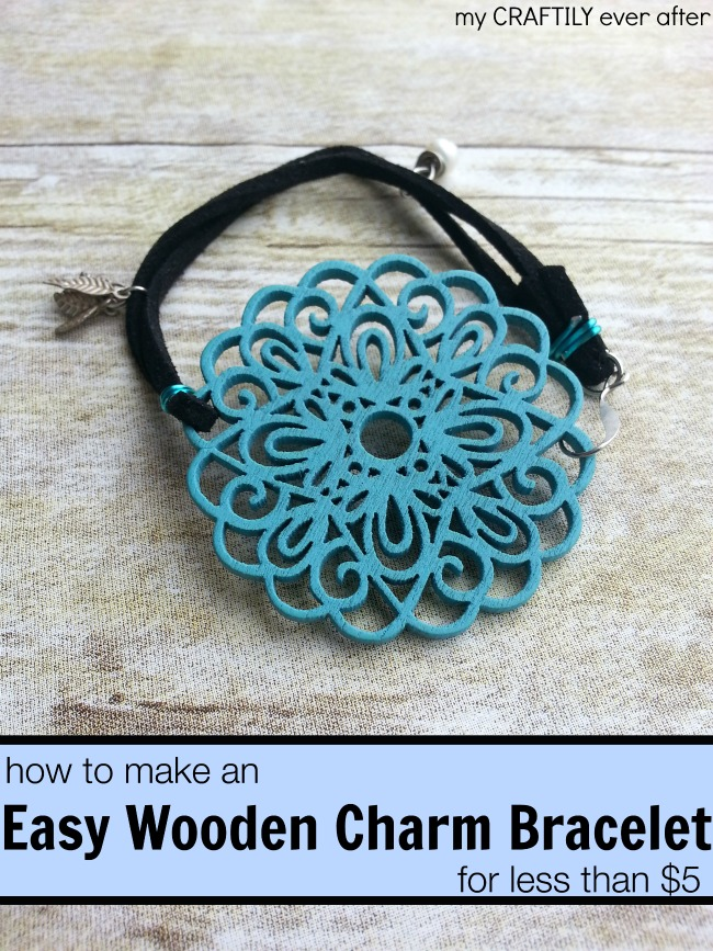 how to make an easy wooden charm bracelet for less than $5