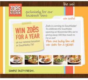 zoes 300x276 (Ended) New Zoës Kitchen in Southlake ~ 500 Free Meals + Free Catered Party Giveaway!
