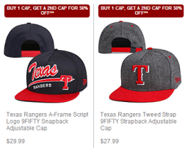 ranger MLB Cap Sale  BOGO 50% Off on 9FIFTY + 50% off Victorias Secret Pink Apparel