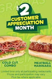 sub Subway $2 Subs through December