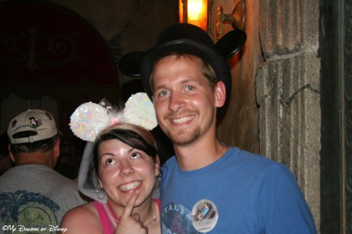 Newlyweds Bryanne and Tyler in the queue at the Twilight Zone Tower of Terror!