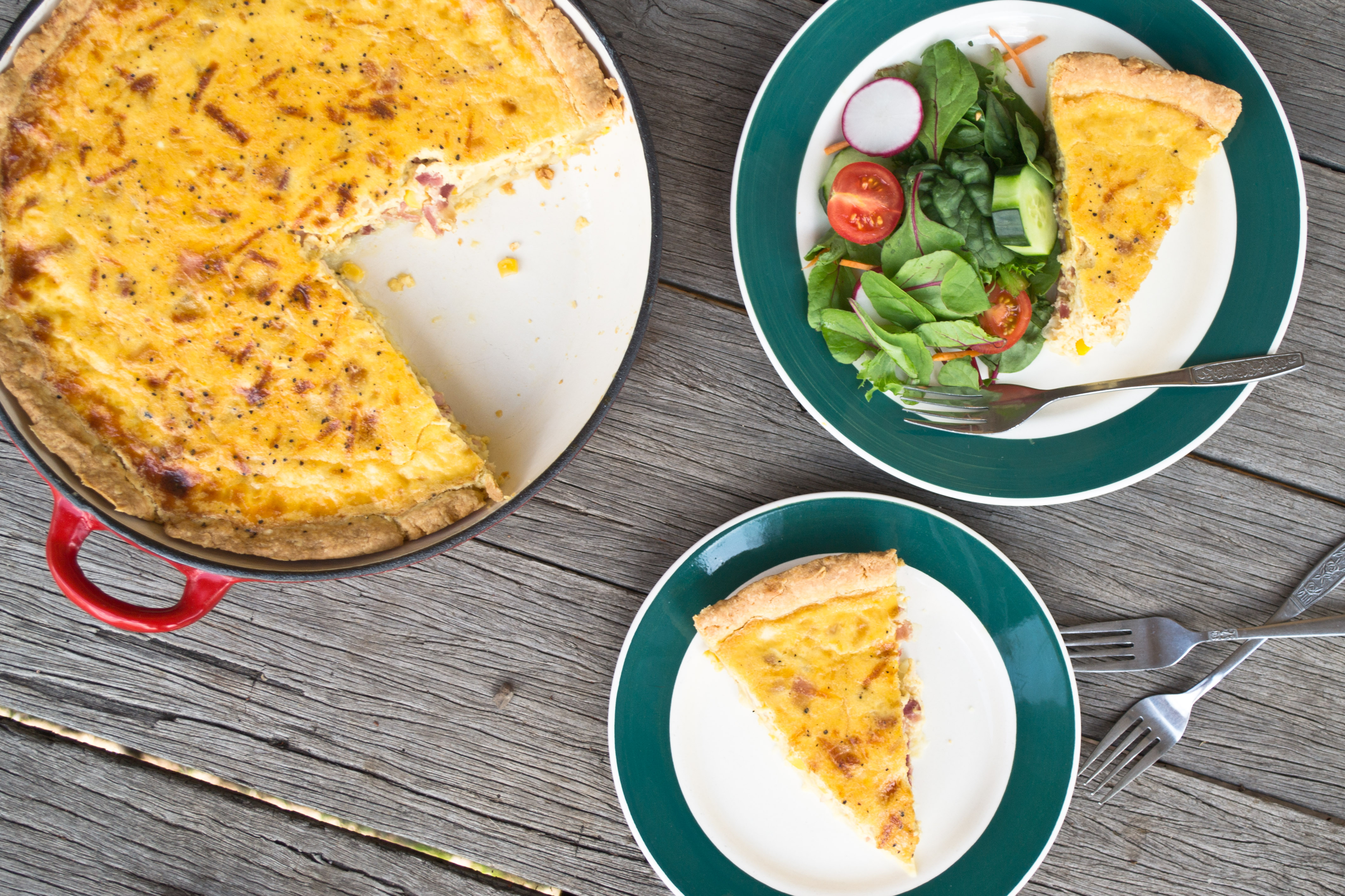 Quiche with Super Easy Cream Cheese Crust