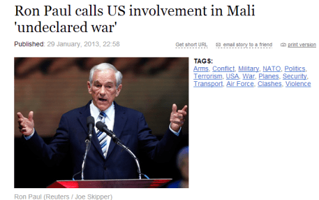 Ron Paul calls US involvement in Mali undeclared war