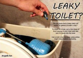 Check for leaky toilet