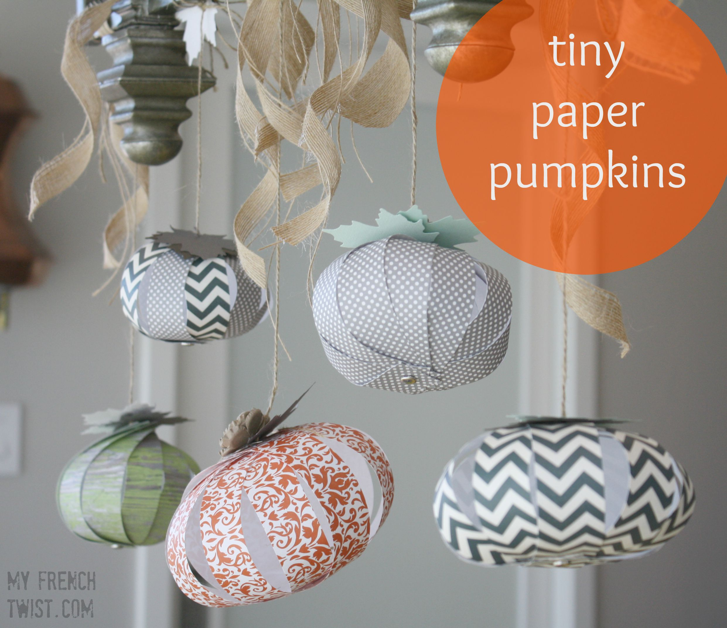tiny paper pumkins at My French Twist