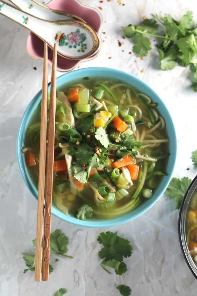 e chicken noodle zoodle soup