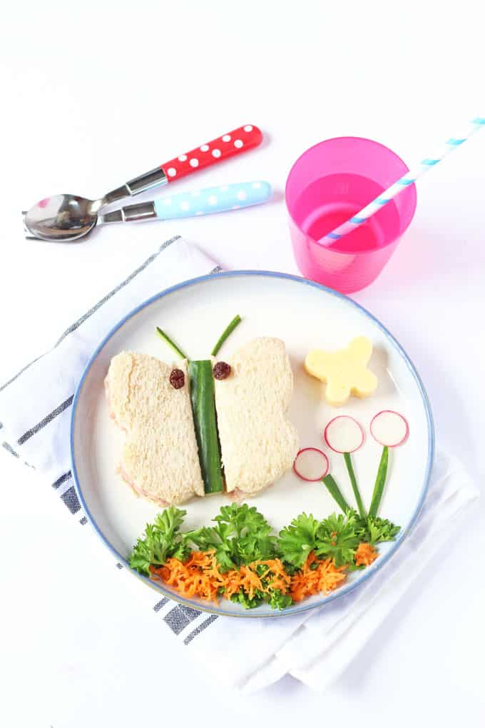 A cute and easy toddler lunch idea; butterfly sandwiches!   My Fussy Eater blog