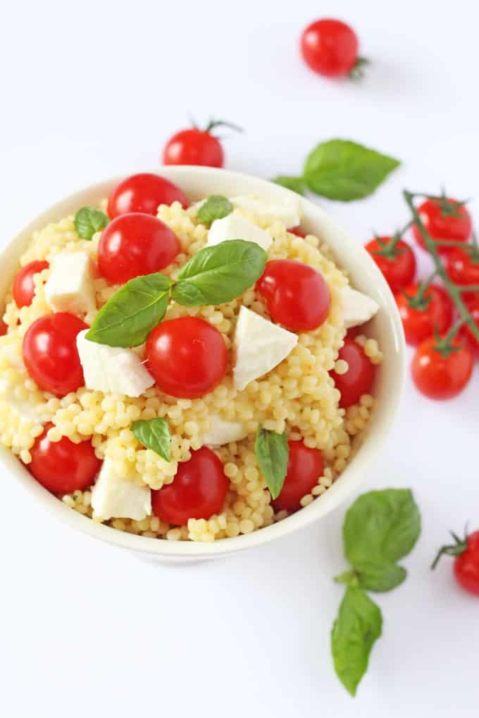 ... salad recipe made with giant cous cous, mozzarella, cherry tomatoes