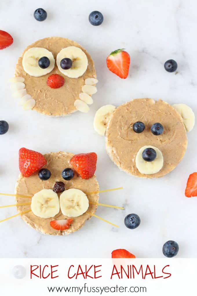 Rice Cake Animals! A fun and healthy snack for kids and toddlers made with rice cakes, peanut butter and fruit   My Fussy Eater blog