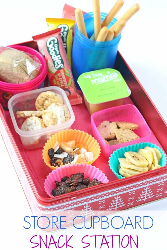 If your kids are constantly asking you to fetch them snacks, try making a store cupboard snack station where they can help themselves to lots of healthy and filling snacks! | My Fussy Eater blog