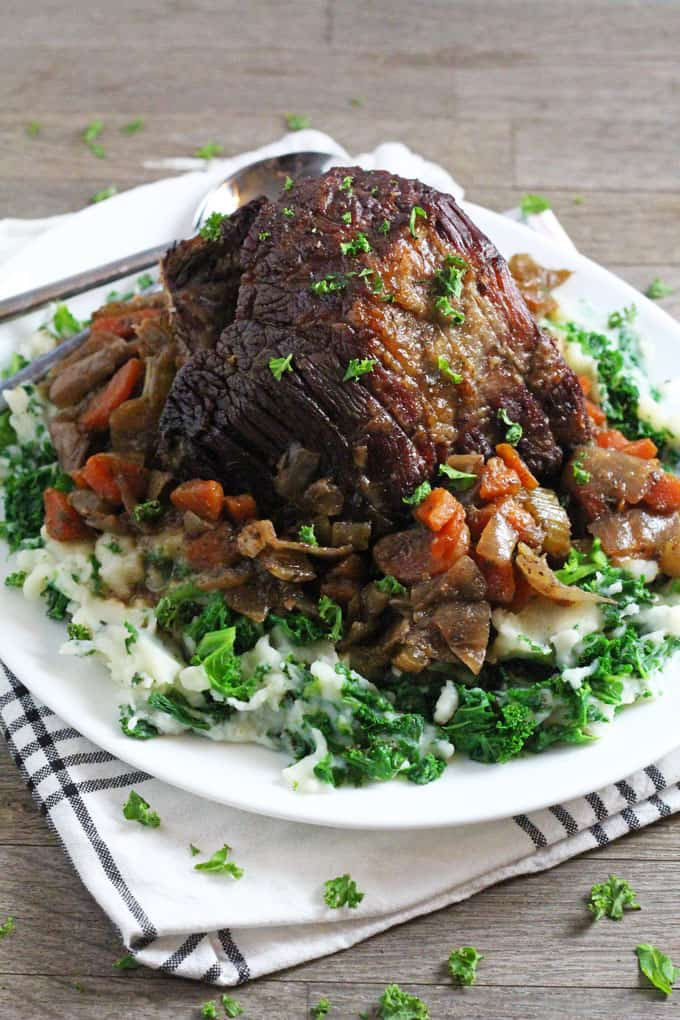 An easy and tasty recipe for beef brisket, slow cooked in a red wine stock and served with kale mash | My Fussy Eater blog