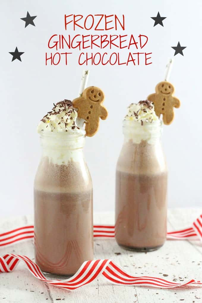 A deliciously festive recipe for frozen hot chocolate flavoured with subtle gingerbread spices! My Fussy Eater blog
