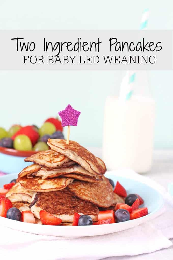 Two Ingredient Banana and Egg Pancakes. Great for baby led weaning and toddlers too! My Fussy Eater blog