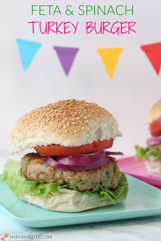 A delicious family friendly Turkey Burger packed with spinach and feta! My Fussy Eater