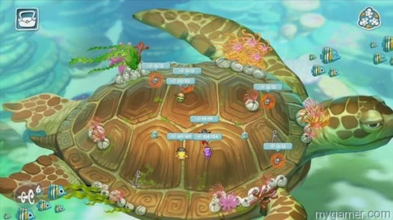 In one stage, players travel on the back of a Majora's Mask turtle