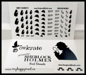 OwlCrate Subscription Box August 2015 Review Mystery Theme Sherlock Holmes Nail Decals