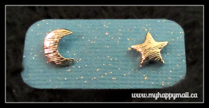Flitwicks Box Review Jewelry Subscription September 2015 Moon and Star Stud Earrings