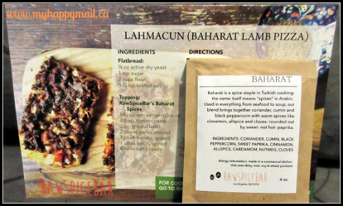 RawSpiceBar Review The Istanbul Spice Box September 2015 Lahmacun Baharat Lamb Pizza