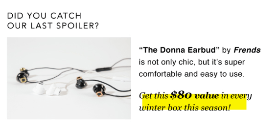 FabFitFun VIP Winter 2015 Spoiler #1 Frends Earbuds 1