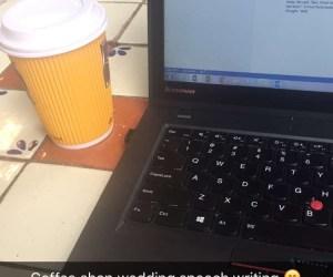Coffee shop wedding speech writing
