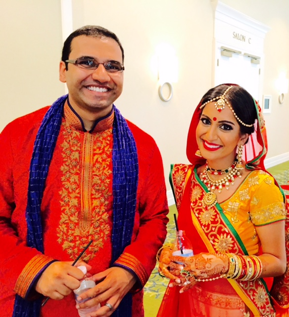 Brother-in-law and bride before Hindu wedding ceremony