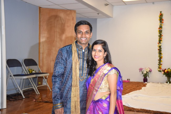 Indian newlywed couple pooja