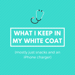 What I Keep In My White Coat (mostly snacks and an iPhone charger)