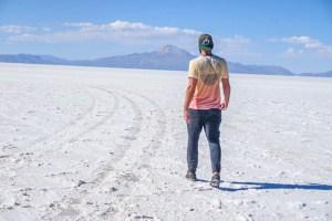 salt flat mountain walking