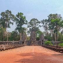 Angkor temple entrance bridge