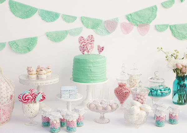 """Mint & Pink Candy Buffet"""
