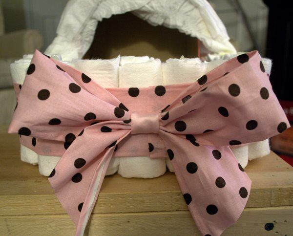 Glue Bow on Front of Bassinet