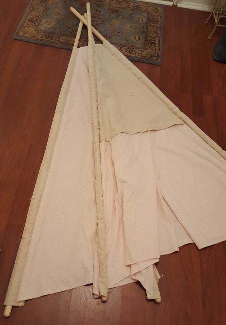 Turn Fabric Right Side out and insert Dowel rods