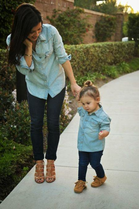 mommy and me chambray shirt and jeans