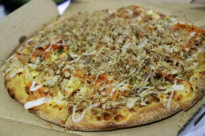 Soba Noodles, Okonomi Sauce, Fish Roe, Kimchi, Bacon, Mayonnaise, Seaweed Powder, Dried Shaved Bonito