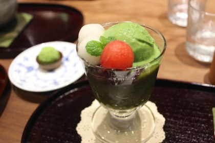 Matcha Ice Cream with Red Bean, Matcha Jelly, Rice Cakes, and Seasonal Fruits