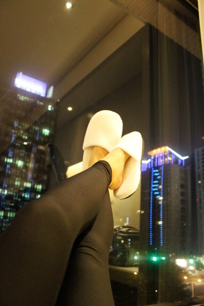 Enjoying the view with my comfy slippers