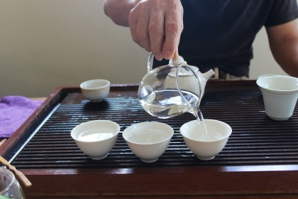 Warming up the tea cups and pot