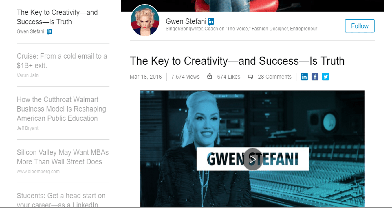 Will Gwen Stefani's New LinkedIn Profile Be A Hit? | Social Media Today