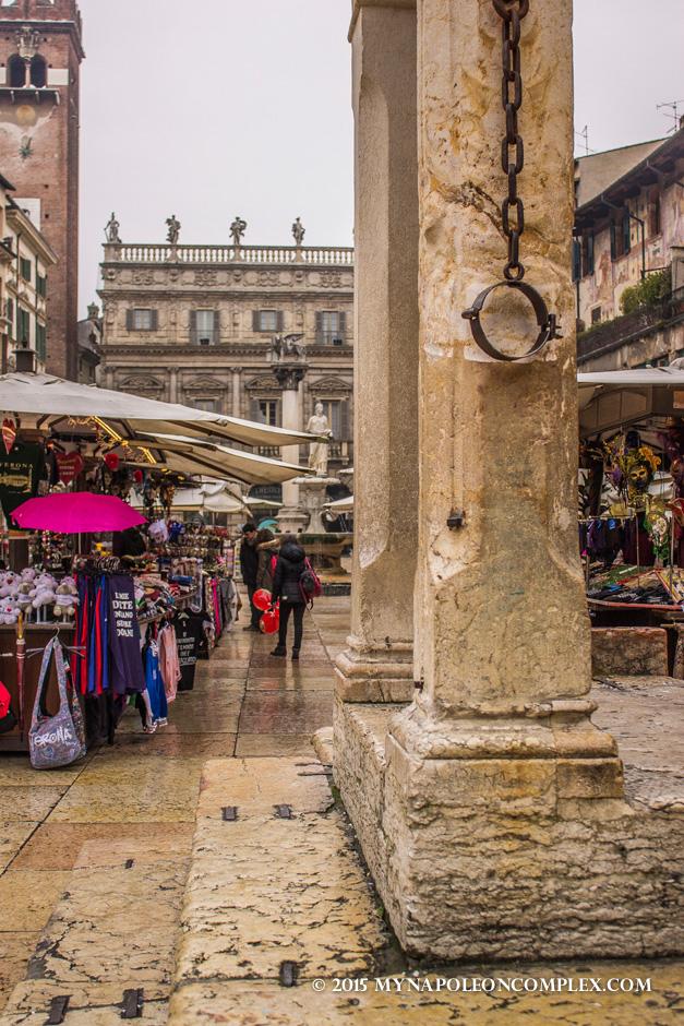 Picture of capitello in Piazza delle Erbe, Verona, Italy.
