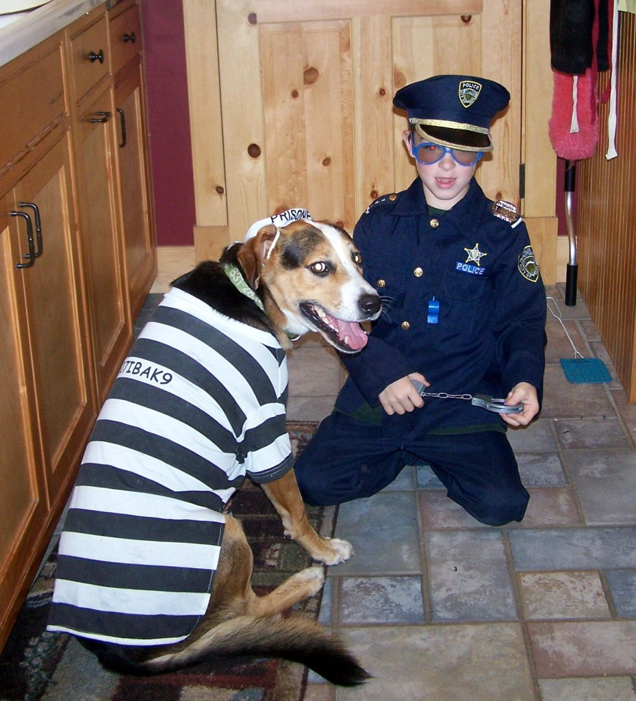 A prisoner of love: Fuji adores dressing up and playing with Michael. (Photo courtesy of Lisa Daffy)