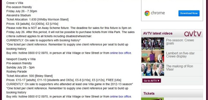 aston villa newport ticket