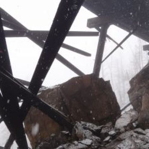 Trestle # 3 Structure Damaged by Rockfall April 7, 2013. Photo courtesy Rolf von Andrian.
